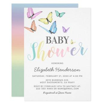 Pastel Rainbow Butterflies Baby Shower Invitation