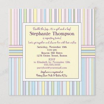 Pastel Stripes Twins Baby Shower Invitation