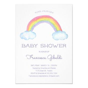 Pastel Watercolor Rainbow And Sprinkle Baby Shower Invitation