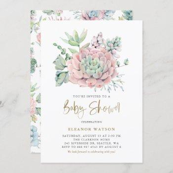 Pastel Watercolor Succulents Girl Baby Shower
