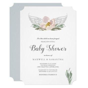 Peach Watercolor Florals Angel Wings Baby Shower Invitation