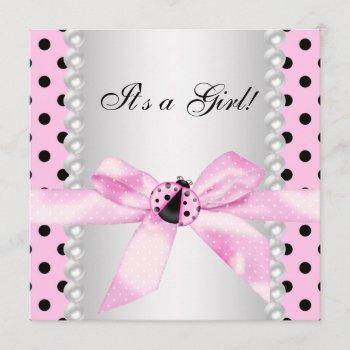 Pearls Black Pink Ladybug Baby Girl Shower Invitation