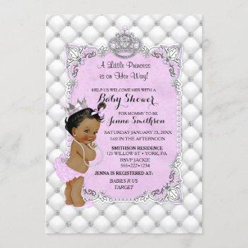 Pearls Diamonds Ethnic Princess Baby Girl Lavender Invitation