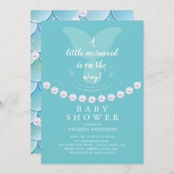 Pearls & Mermaid Baby Shower Invitation