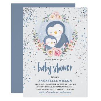 Penguin Boy Baby Shower Invitation