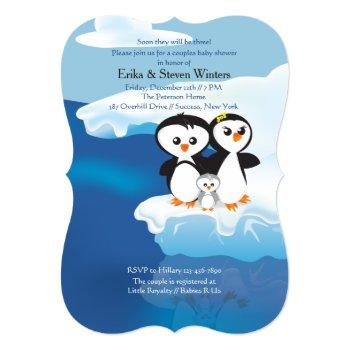 Penguin Family Couples Baby Shower Invitation
