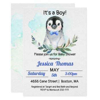 Penguin Winter Boy Baby Shower Invitation