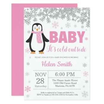 Penguin Winter Pink Girl Baby Shower Snowflake Invitation