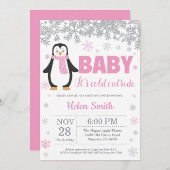Penguin Winter Pink Girl Baby Shower Snowflake Invitation