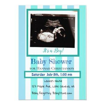 Personalized Baby Boy's  Ultrasound Baby Shower Invitation