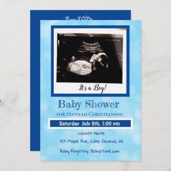 Personalized Blue Baby Boy Ultrasound Baby Shower Invitation