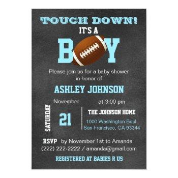 Personalized Chalkboard Football Theme Baby Shower Invitation