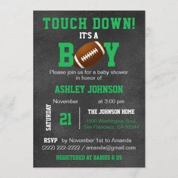 Personalized Chalkboard Football Theme Baby Shower Invitation