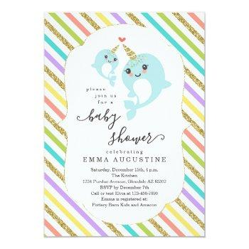 Personalized Narwhal Themed Baby Shower Unisex Invitation
