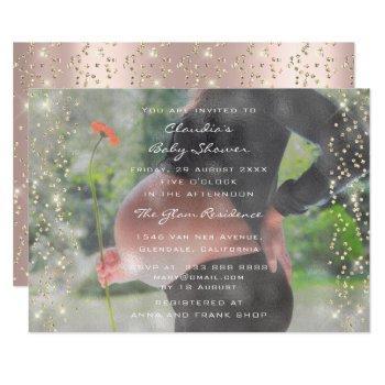 Photo Baby Shower Birthday Rose Gold Confetti Invitation