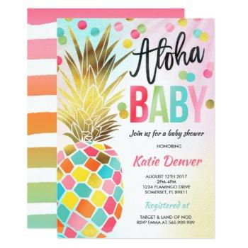 Pineapple Baby Shower Invitation Tropical Shower