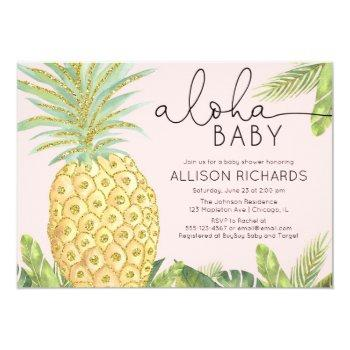 Pineapple Tropical Blush Pink Girl Baby Shower Invitation