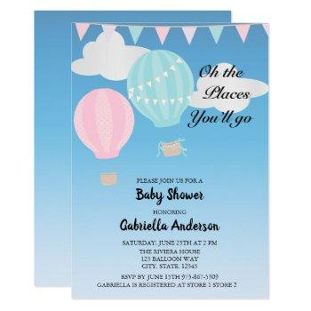 Pink And Blue Hot Air Balloon Baby Shower Invitation