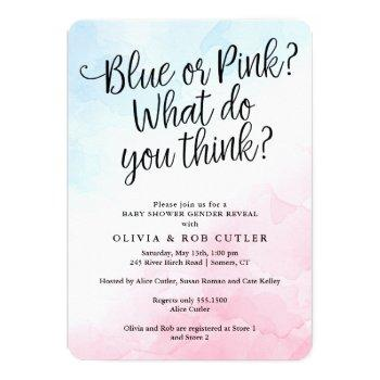 Pink And Blue Script Gender Reveal Baby Shower Invitation