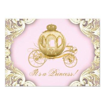 Pink And Gold Carriage Royal Princess Baby Shower Invitation
