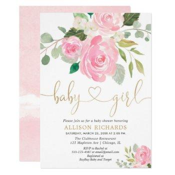 Pink And Gold Elegant Rose Floral Girl Baby Shower Invitation