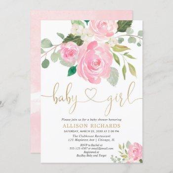 Pink And Gold Elegant Rose Floral Girl Baby Shower
