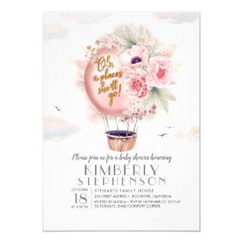 Pink And Gold Floral Hot Air Balloon Baby Shower Invitation