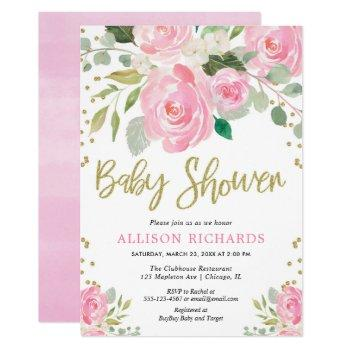 Pink And Gold Floral Roses Girl Baby Shower Invitation