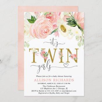 Pink And Gold Floral Twin Girls Baby Shower Invitation