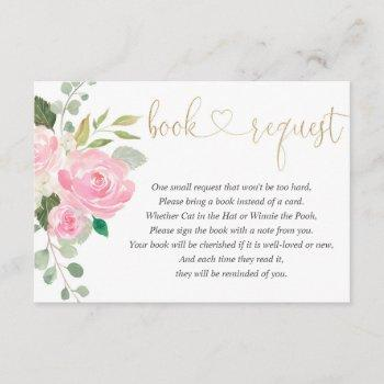 Pink And Gold Floral Watercolor Girl Book Request Enclosure Card