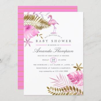 Pink And Gold Tropical Flamingo Girl Baby Shower Invitation