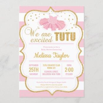 Pink And Gold Tutu Baby Shower Invitation For Girl