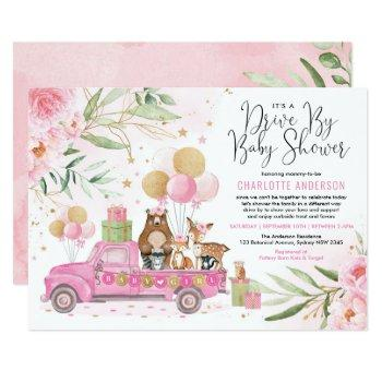 Pink And Gold Woodland Drive Through Baby Shower Invitation
