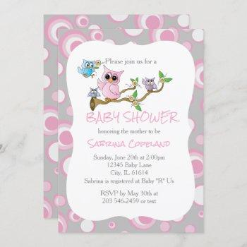 Pink And Gray Baby Owl | Shower Theme Invitation