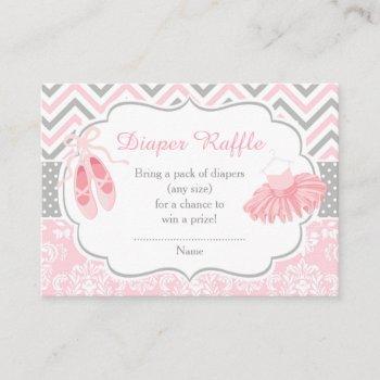 Pink And Gray Chevron Ballerina Baby Diaper Raffle Enclosure Card