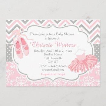 Pink And Gray Chevron Ballerina Baby Shower