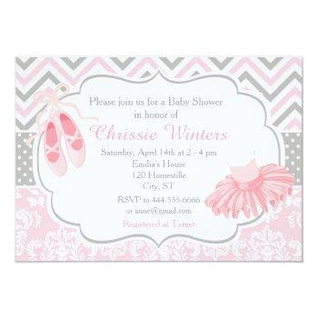 Pink And Gray Chevron Ballerina Baby Shower Invitation