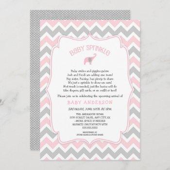 Pink And Gray Elephant Baby Sprinkle