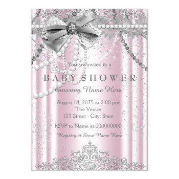 Pink And Gray Pearl Girly Baby Shower Invitation