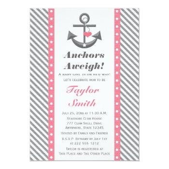 Pink And Gray Polka Anchor Nautical Baby Shower Invitation
