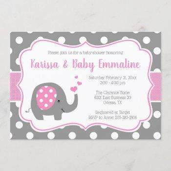 Pink And Gray Polka Dot Elephant Baby Shower Invitation