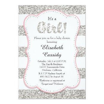 Pink And Silver Glitter Girl Baby Shower Invitatio Invitation