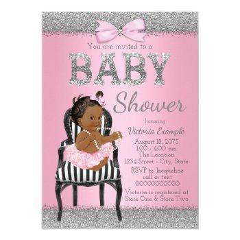 Pink And Silver Gray Ethnic Girl Baby Shower Invitation