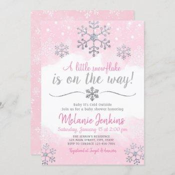 Pink And Silver Snowflake Baby Shower
