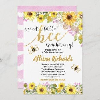 Pink And Yellow Bumble Bee Girl Baby Shower