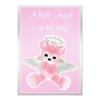 Pink Angel Teddy Bear Baby Shower Invitation