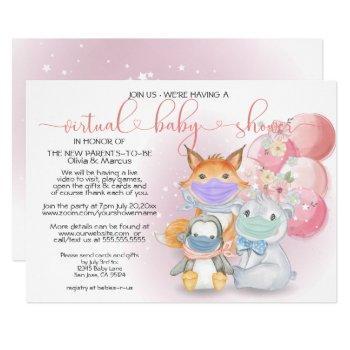 Pink Arctic Animals In Masks Virtual Baby Shower Invitation