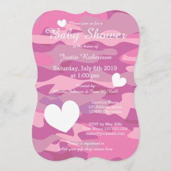 Pink Army Camo Baby Shower  With Hearts