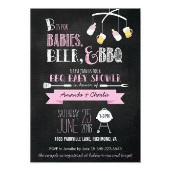 Pink Babies, Beer & Bbq Baby Shower Invitation