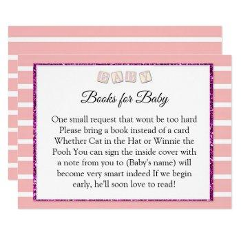 Pink Baby Shower Books For Baby Card